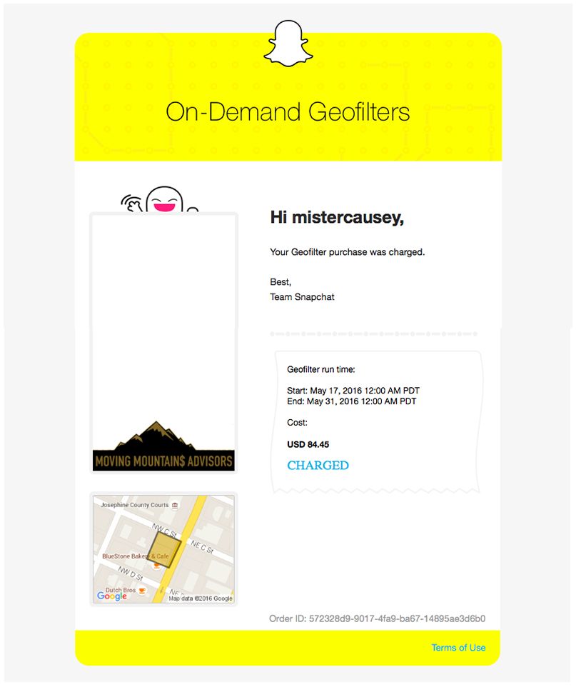 Snapchat Geofilter - Email Charged - Moving Mountains Advisors